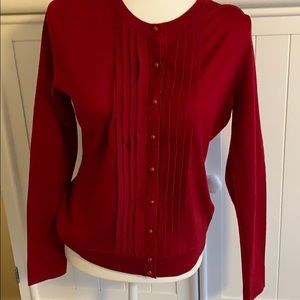 Like New Talbots Red button up Sweatet.